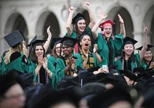 Graduates celebrate at Commencement May 19, 2017. (Photo: James Byard/Washington University)