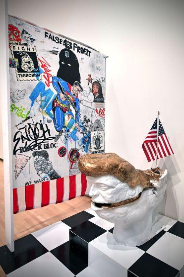 "Jonathan Cornell, detail from ""Funerary Urns,"" 2017. Mixed-media installation. (Photo: James Byard/Washington University)"