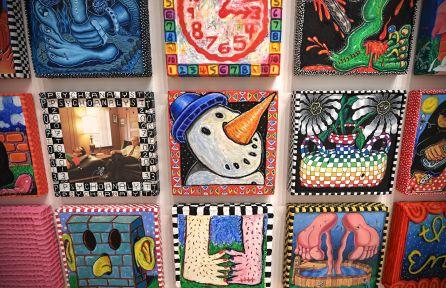 "Edo and Le'ad Rosenblith, ""The Phantasmagoria Series (25 Variations),"" 2016-17. Watercolor crayon, oil pastel, oil stick, acrylic, digital print, hard molding paste and acrylic ground for pastels on 25 wood panels. (Photo: James Byard/Washington University)"