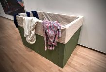 "Heather Alfaro, ""#mfadressup2017,"" 2017. Cotton, foamboard, canvas, yarn and polyester fabrics. (Photo: James Byard/Washington University)"