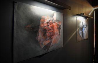 """Yihuang Lu, """"Folds–Hope"""" and """"Folds–Peace,"""" both 2016. Inkjet prints on rice paper. (Photo: James Byard/Washington University)"""
