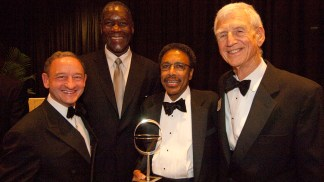 The Chancellor helped honor Jim McLeod (second from right) at the 2010 Eliot Society dinner.