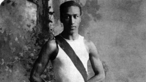 George Poage, the first African-American to compete and medal in the games by winning the bronze in both the 200-yard and 400-yard hurdles. Born in Hannibal, Mo., he remained in St. Louis afterward and taught English at Sumner High School. (Photo: Courtesy of Missouri Historical Society)