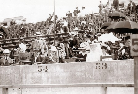 What might have passed for rowdy fans, back in the day: Olympic spectators fill the grandstands of the stadium. (Photo: Courtesy of Missouri Historical Society)