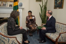 Chancellor Mark Wrighton and his wife, Risa Zwerling Wrighton, meet with Jamaican Ambassador to the United States Audrey P. Marks (center) at a university reception at the Jamaican Embassy in Washington, D.C. (Photo: Andres Alonso)
