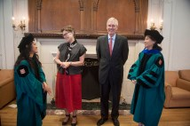 Wertsch and his wife, Mary, visit with graduates at the McDonnell International Scholars Academy Recognition Ceremony in 2012.