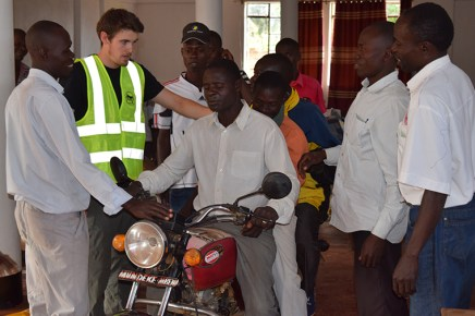 Delaney's research revealed that half of all traffic accidents in the Ugandan town of Iganga involved motorcycle taxis called boda-bodas. In response, Delaney created an emergency medicine curriculum for the drivers. (Courtesy photo)