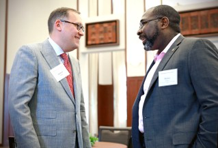 Andrew D. Martin meets with Dedric Carter and other members of university leadership after being selected as the 15th chancellor of Washington University in St. Louis. (Photo: James Byard/Washington University)