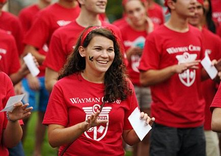 On move-in day, special events, such as residential-college cheer practice, build camaraderie and excitement for Convocation later that evening. (James Byard)