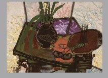 """Georges Braque, Still Life with Palette, 1943. Oil on canvas, 23 5/8 x 31 7/8"""". Saint Louis Art Museum, Gift of Joseph Pulitzer, Jr., 136:1956. © 2012 Artists Rights Society (ARS), New York / ADAGP, Paris."""