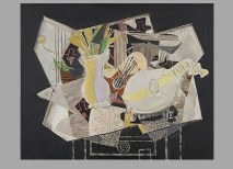 """Georges Braque, Vase, Palette, and Mandolin, 1936. Oil, charcoal, and graphite on canvas, 32 x 39 5/8"""". San Francisco Museum of Modern Art, Purchase with the aid of funds from W. W. Crocker. © 2012 Artists Rights Society (ARS), New York / ADAGP, Paris."""
