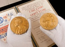 """The Bernard Becker Medical Library holds the 1947 Nobel Prize in Physiology or Medicine medals awarded to Carl F. Cori, MD, and Gerty T. Cori, MD, """"for their discovery of the course of the catalytic conversion of glycogen."""" (Joe Angeles)"""