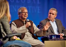 Muhammad Yunus, a Nobel Peace Prize recipient, was among the panelists discussing a better future for girls during a Saturday morning plenary session. (Mark Katzman)