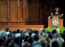 Before a capacity audience in Graham Chapel, civil rights pioneer Ruby Bridges gave the program's keynote address, telling her own story of being the first African-American child to integrate an all-white elementary school in the South as a 6-year-old in 1960. (Sid Hastings)