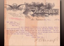 This letter of introduction was written by P. H. Bernays, the manager of the Overman Wheel Company's branch office in San Francisco, which provided Allen and Sachtleben with bicycles for the final leg across the United States. It is addressed to Carl Derby, an agent in Riverside, Calif. (Courtesy of Kim Mangun, a Sachtleben relative)