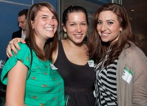 The young alumni event is about networking and reconnecting with friends, such as (from left) Kate Levitov-Baxter, AB '10, Sarah Cohen, AB '11, and Rae Draizen, AB '10. (Jennifer Weisbord, BFA '92)