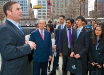 On their March 2012 trip to New York City, Chancellor Mark S. Wrighton (second from left) and the McDonnell International Scholars visited the National September 11 Memorial and met with Daniels (left), who provided them with background on the site. (Joe Angeles)