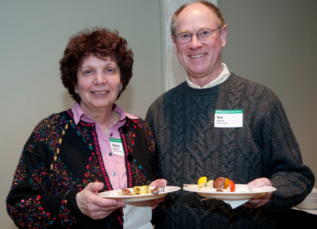 Along with the presentation and exhibit tour, Joyce Sucher, BS '74, MS '76, and Dan Sucher, BS '74, BS '74, PhD '81, enjoyed the Classes Without Quizzes reception. (Dawn Villella)