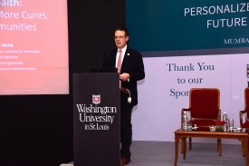 Philip Payne, director of the Institute of Informatics at Washington University, gives a keynote address about the power of big data and AI, and the promise both applications could hold for health care in India.