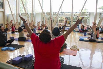 Danforth Campus employees enjoyed a variety of activities on Staff Day, including yoga. (Photo: Mary Butkus/Washington University)
