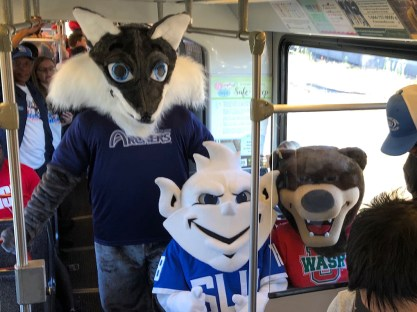Mascots riding the train