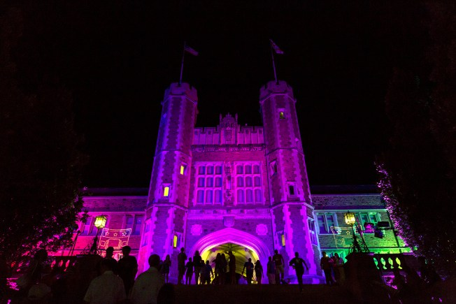 Brookings Hall during party at the park