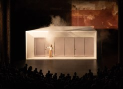 """P-A-T-T-E-R-N-S (Marcelo Spina & Georgina Huljich), set design for Joan Didion's """"The White Album,"""" which premiered as part of the 2018 Next Wave Festival at the Brooklyn Academy of Music."""