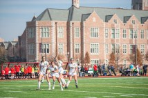 The women's soccer team plays Maryville (Tenn.) College during an NCAA Division III first-round game Nov. 16 at Francis Olympic Field. The Bears defeated Maryville 4-0. (Photo: Danny Reise/Washington University)
