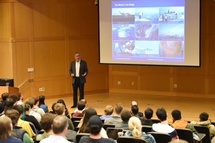 David McBride, director of NASA's Armstrong Flight Research Center, speaks about the future of aerospace engineering and the role of government in the age of private space and aircraft flight during an Assembly Series lecture Nov. 19 in a packed Whitaker Hall Auditorium. (Photo: Ray Marklin)
