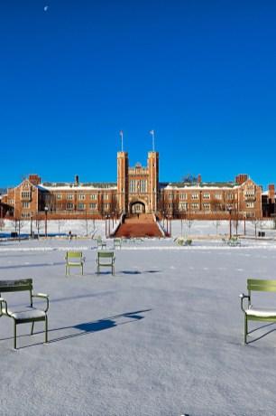 snowy Brookings Hall