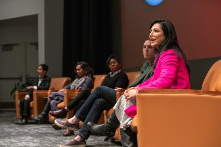 """Keynote speaker Aisha Sultan (right) leads a panel discussion after her talk and screening of her film, """"Other People."""" Panelists were (from far left:) Braveheart Gillani, Bethany Johnson-Javois, Gmerice Hammond and James Zerkel. (Photo: Joe Angeles/Washington University)"""