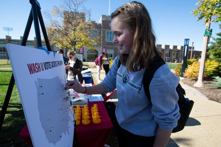 On Tuesday, Nov. 6, 2018, WashU Votes volunteers and employees host Election Day activities as students prepare to vote at the Athletics Complex. (Jerry Naunheim Jr./WUSTL Photos)
