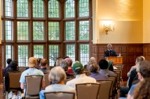 Gerald Early, the Merle Kling Professor of Modern Letters in Arts & Sciences, presented a talk on the rise of Black studies at WashU, the McLeod Memorial Lecture, Sept. 30 in Umrath Lounge. View a recording of the lecture. (Photo: Whitney Curtis/Washington University)
