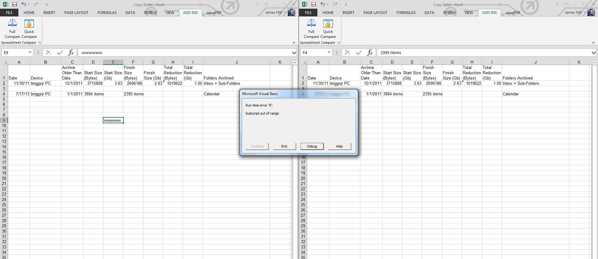 Spreadsheet Compare Bugs 66 Run Time Error 9