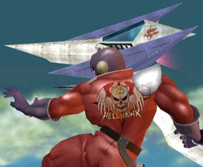 Red Falcon's back. Hellhawk! Machine no. 25! (Overseas, it's going to be changed to Blood Hawk.)