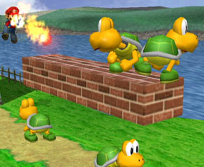 Stage 1 is from the world of Mario. There's Koopa Troopas everywhere.