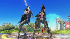 Bayonetta and her alt costume in Super Smash Bros. for Wii U