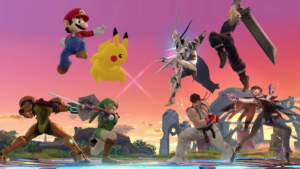 Mario, Pikachu, Link, and Samus vs. Cloud, Corrin, Ryu, and Bayonetta