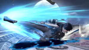Bayonetta's infamous slide attack in Super Smash Bros. for Wii U.