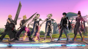 Cloud, Corrin, Bayonetta and their alternate costumes in Super Smash Bros. for Wii U