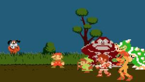 Mario, Link, Pit, Donkey Kong, Samus, and Bowser meet Duck Hunt