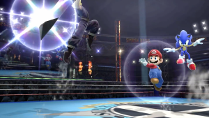 Cloud, Mario, and Sonic fighting on Boxing Ring (Smash Version) in Super Smash Bros. for Wii U