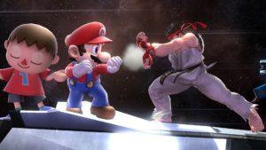 Mario, Villager, and Ryu on Orbital Gate Assault