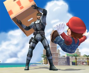 Mario and Snake on Delfino Plaza in Super Smash Bros. Brawl
