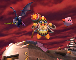 Kirby, Meta Knight, and King Dedede in Super Smash Bros. Brawl!