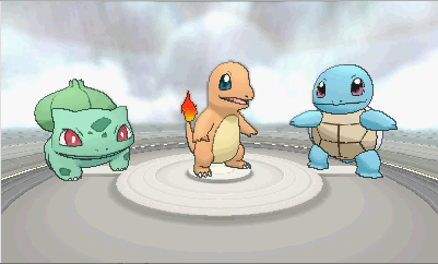 Bulbasaur, Charmander, and Squirtle in Pokemon X and Y