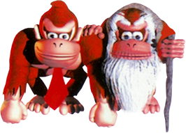 Donkey Kong and Cranky Kong in Donkey Kong Country
