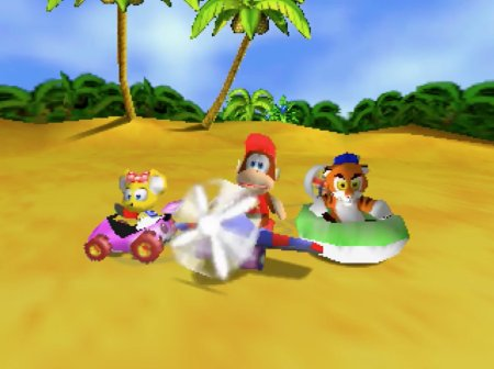 Diddy Kong, Pipsy and Timber in Diddy Kong Racing