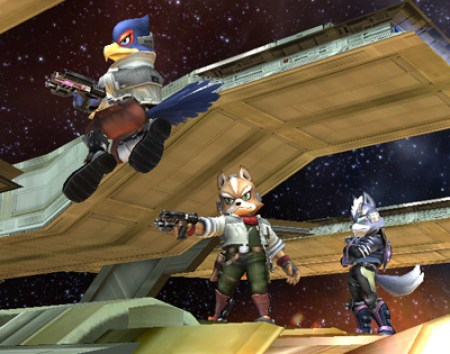Wolf, Fox and Falco in Super Smash Bros. Brawl