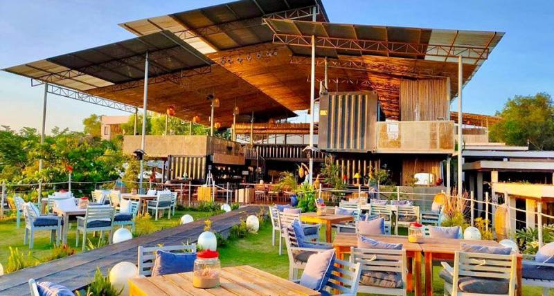 exterior shot of restaurant and bar made from recycled materials